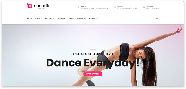 Template for a site about dancing