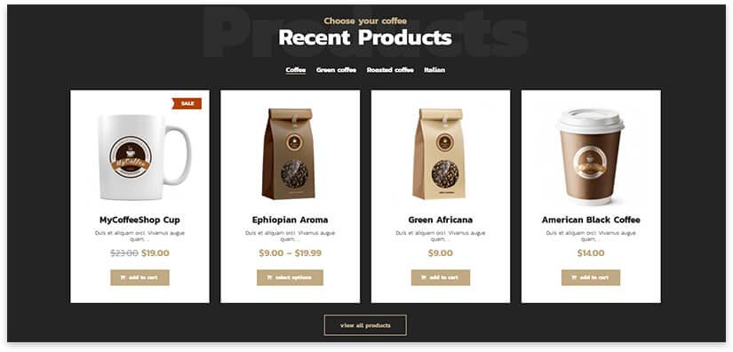 Coffee shop on WordPress