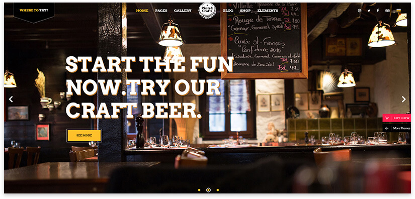 WordPress Bar Website Template