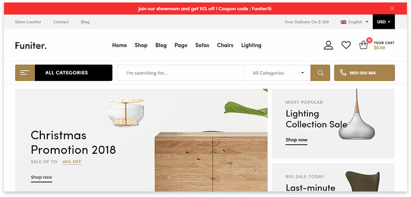 create a site for the sale of furniture