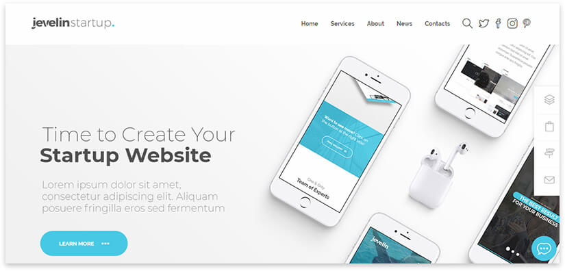 32 templates for the website of a web studio, agency, freelancer on WordPress