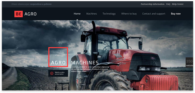 Landing page construction equipment