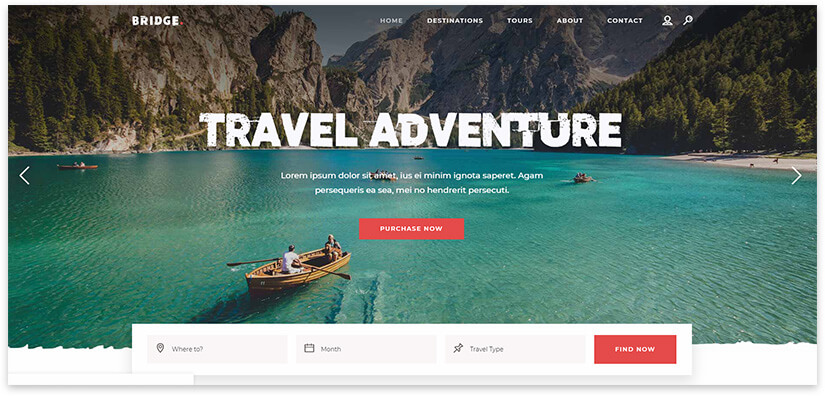 landing page for travel