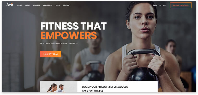 30 site templates for sports, fitness, club, trainer on WordPress 2020