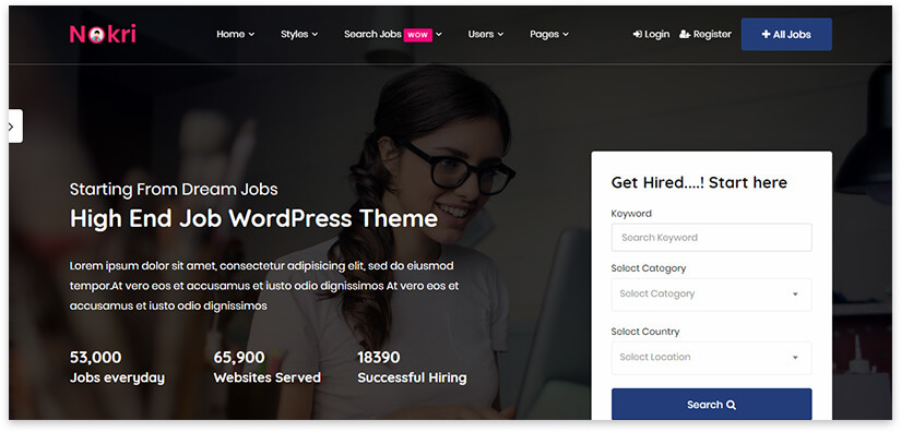 Wordpress screen