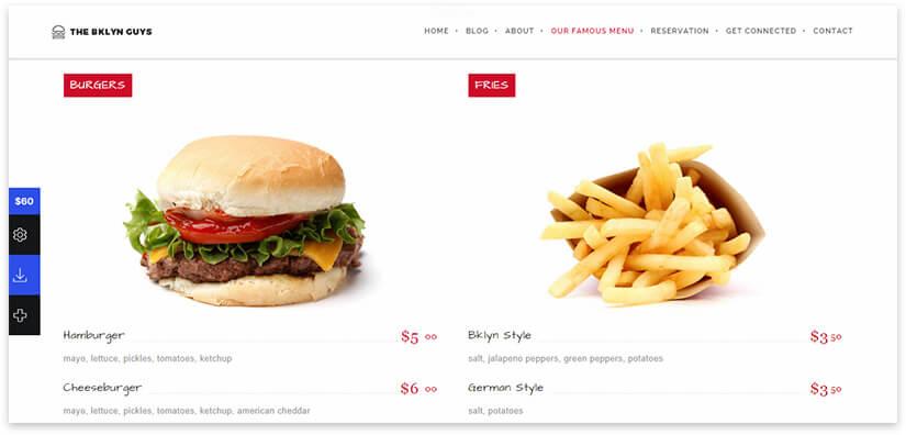 fast food website theme