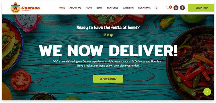 Mexican bar website screenshot
