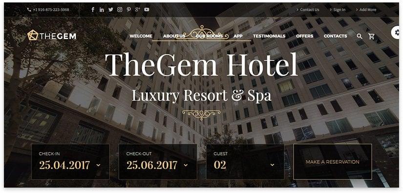 hotel business card website