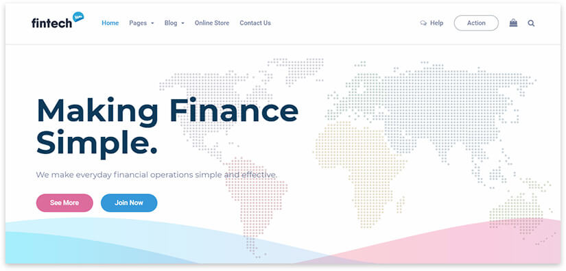 Bright website about finance