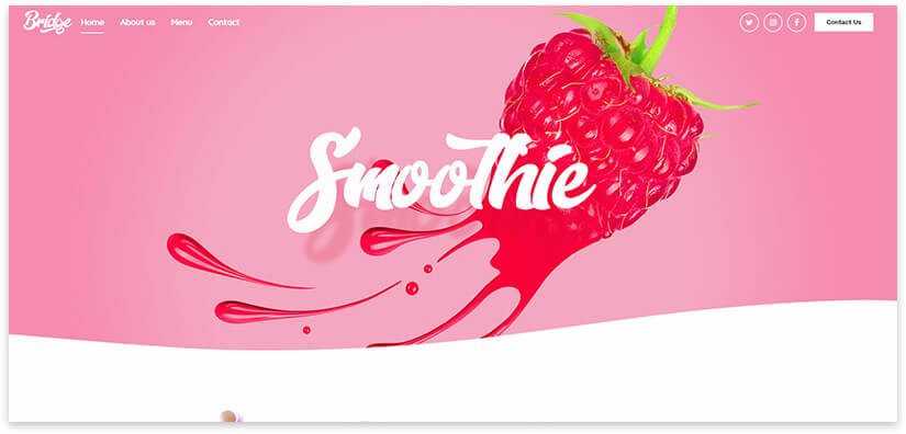 Smoothies cafe theme for the site