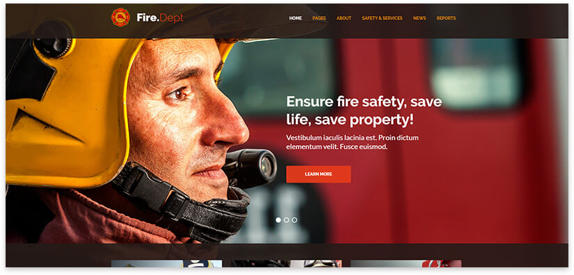 fire department website template