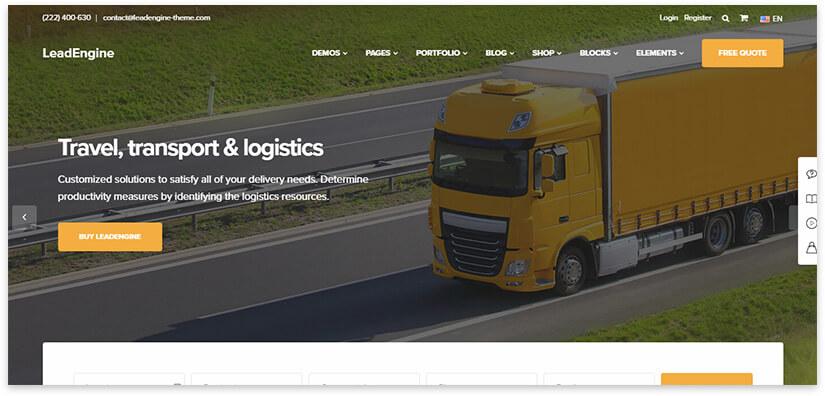 trucking landing page