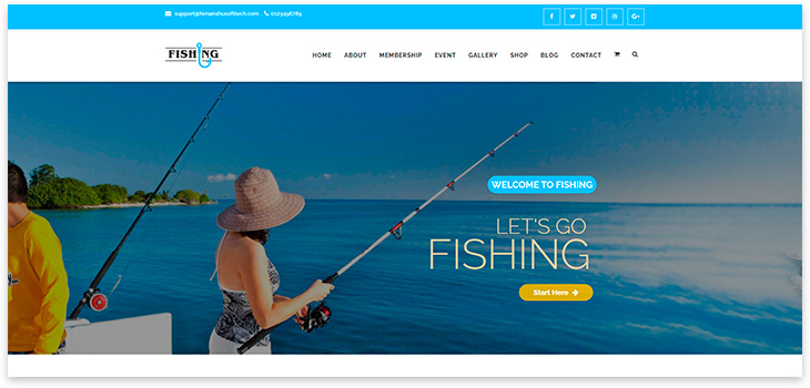Fishing website template