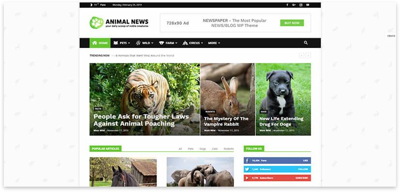 Animal blog template