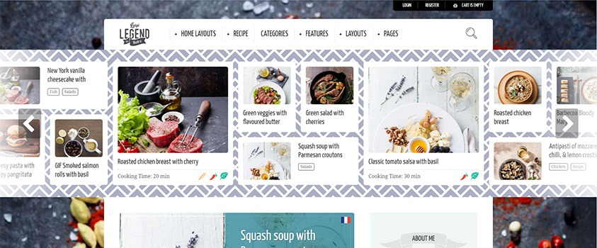 food blog and recipes wordpress template